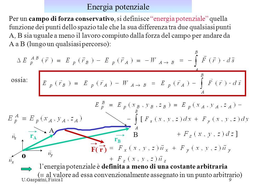 Energia potenzialePer un campo di forza conservativo, si definisce energia potenziale quella.