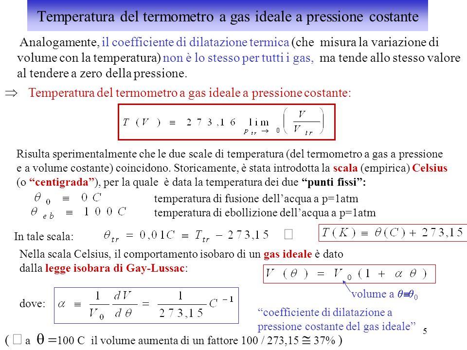 Temperatura del termometro a gas ideale a pressione costante