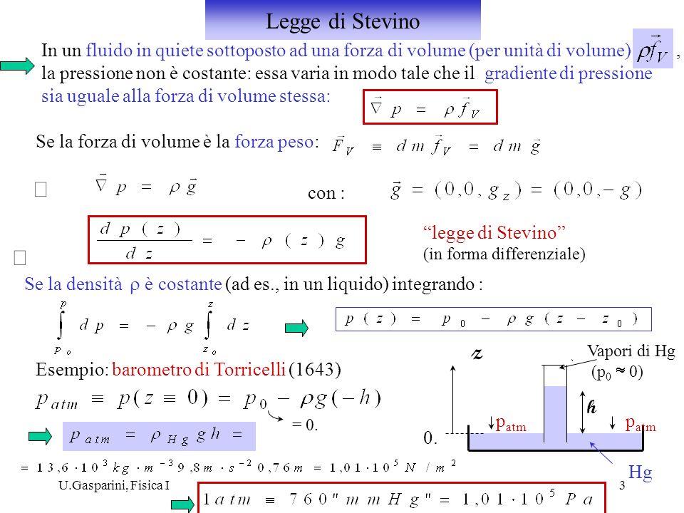 Legge di Stevino In un fluido in quiete sottoposto ad una forza di volume (per unità di volume) ,
