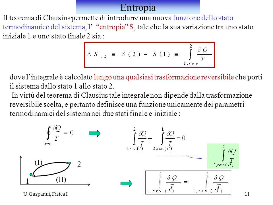 Entropia Il teorema di Clausius permette di introdurre una nuova funzione dello stato.