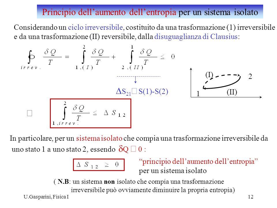 Principio dell'aumento dell'entropia per un sistema isolato