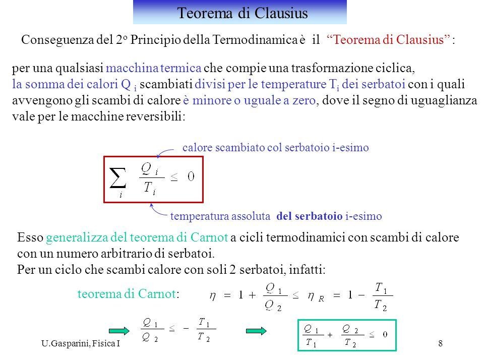 Teorema di Clausius Conseguenza del 2o Principio della Termodinamica è il Teorema di Clausius :