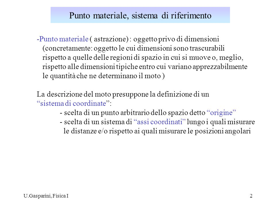 Punto materiale, sistema di riferimento