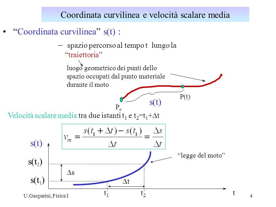 Coordinata curvilinea e velocità scalare media