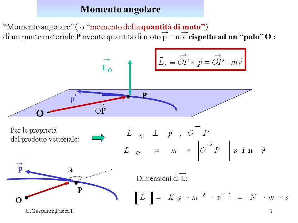 Momento angolare Momento angolare ( o momento della quantità di moto )