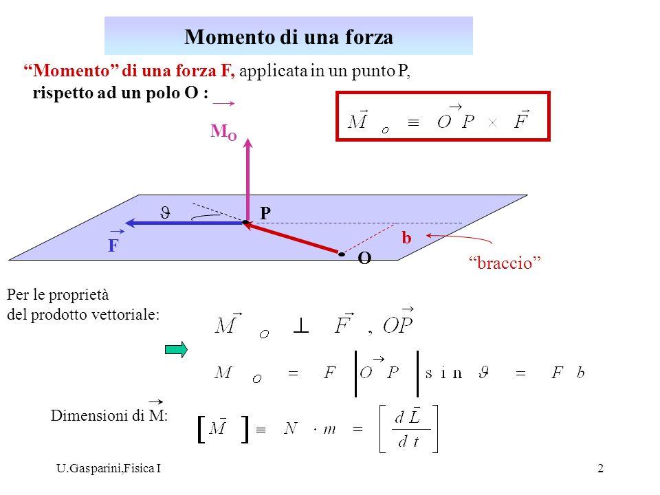 Momento di una forza Momento di una forza F, applicata in un punto P, rispetto ad un polo O : MO.
