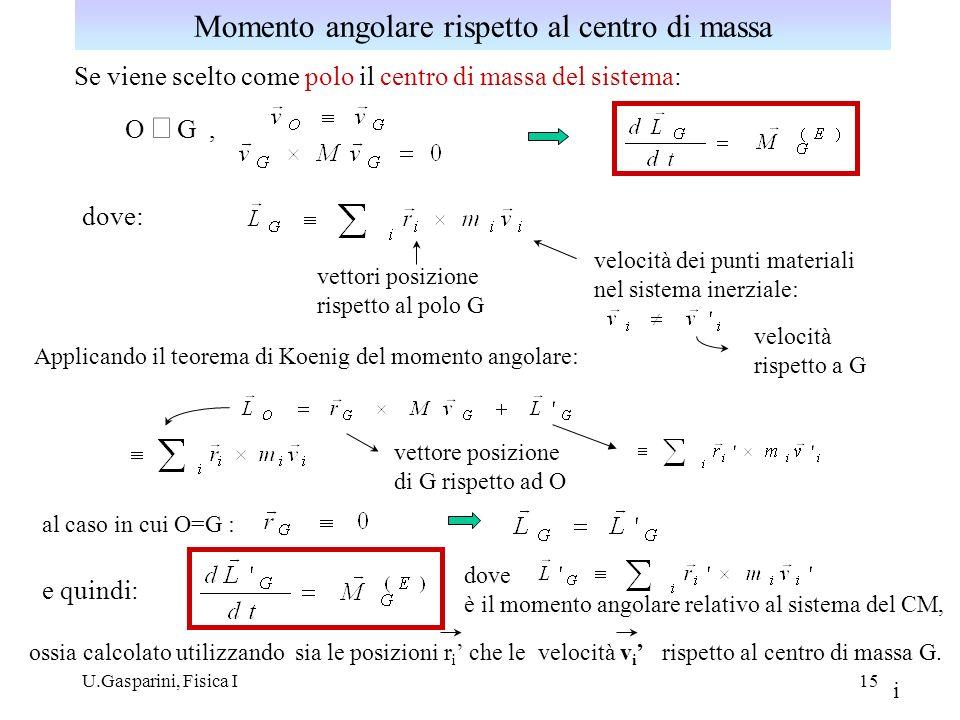 Momento angolare rispetto al centro di massa