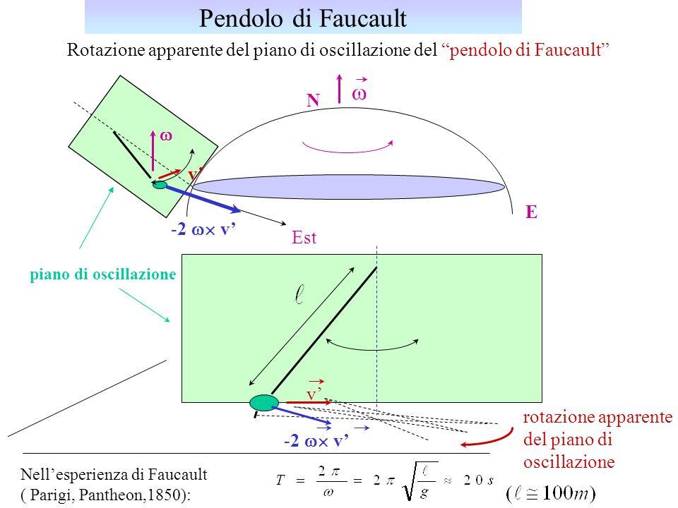 Pendolo di Faucault Rotazione apparente del piano di oscillazione del pendolo di Faucault w. N.