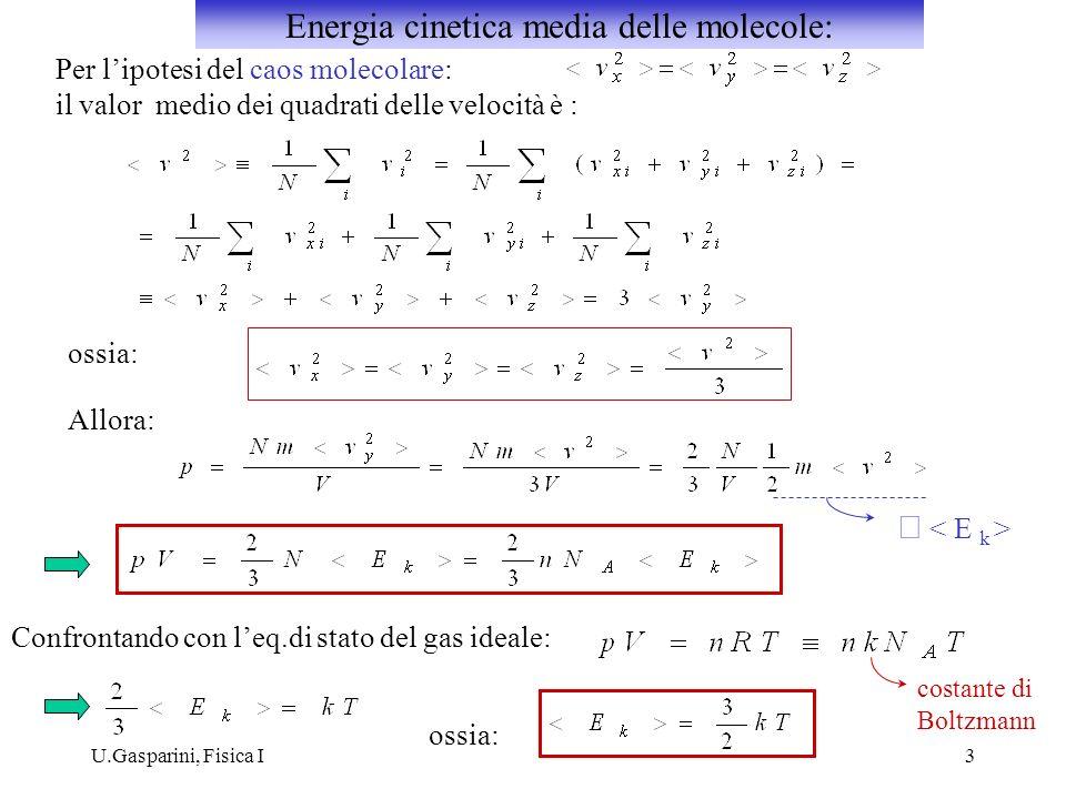 Energia cinetica media delle molecole: