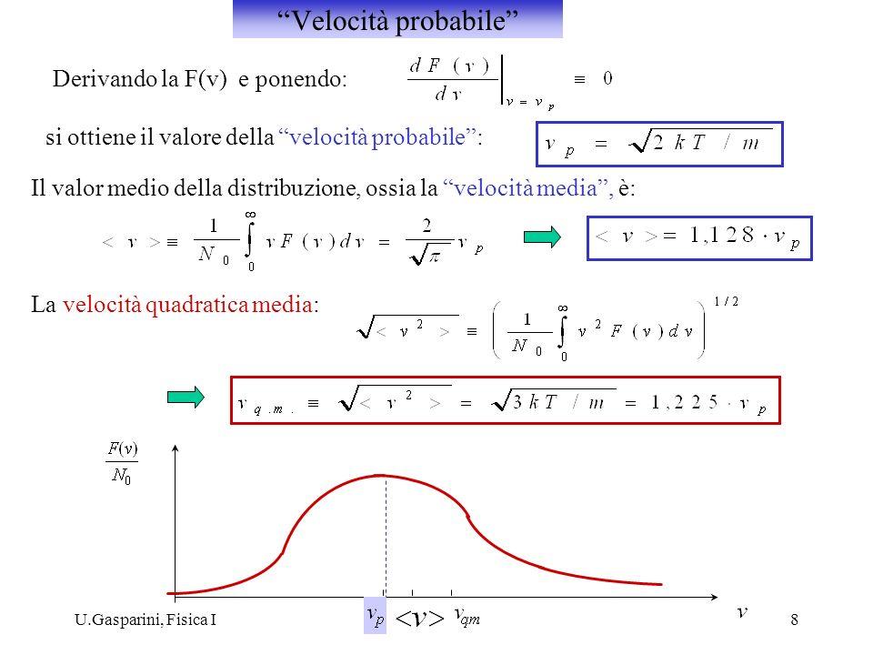 Velocità probabile Derivando la F(v) e ponendo: