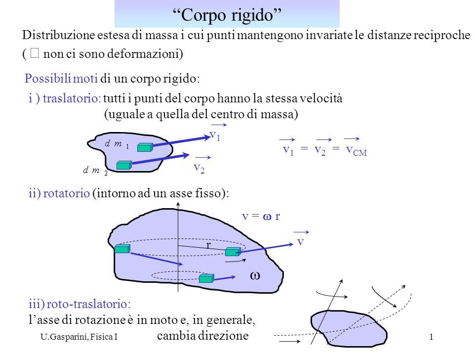 Corpo rigido Distribuzione estesa di massa i cui punti mantengono invariate le distanze reciproche.
