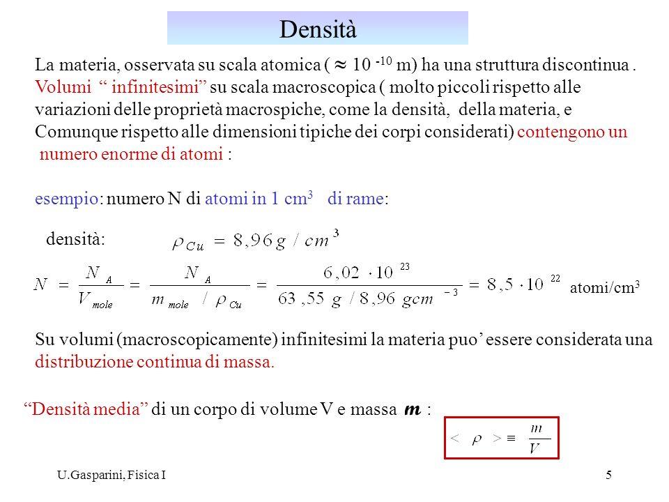Densità La materia, osservata su scala atomica ( » 10 -10 m) ha una struttura discontinua .