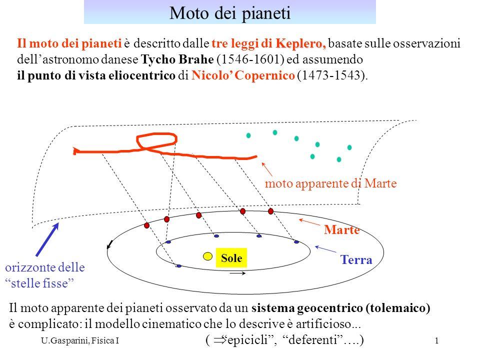 Moto dei pianeti Il moto dei pianeti è descritto dalle tre leggi di Keplero, basate sulle osservazioni.
