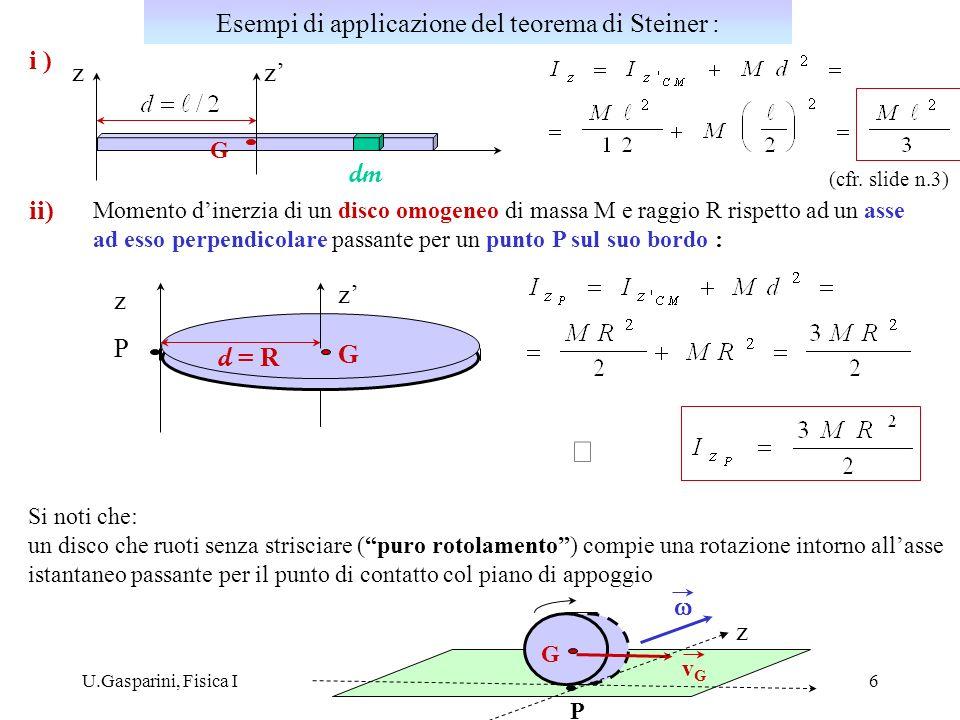 Esempi di applicazione del teorema di Steiner :