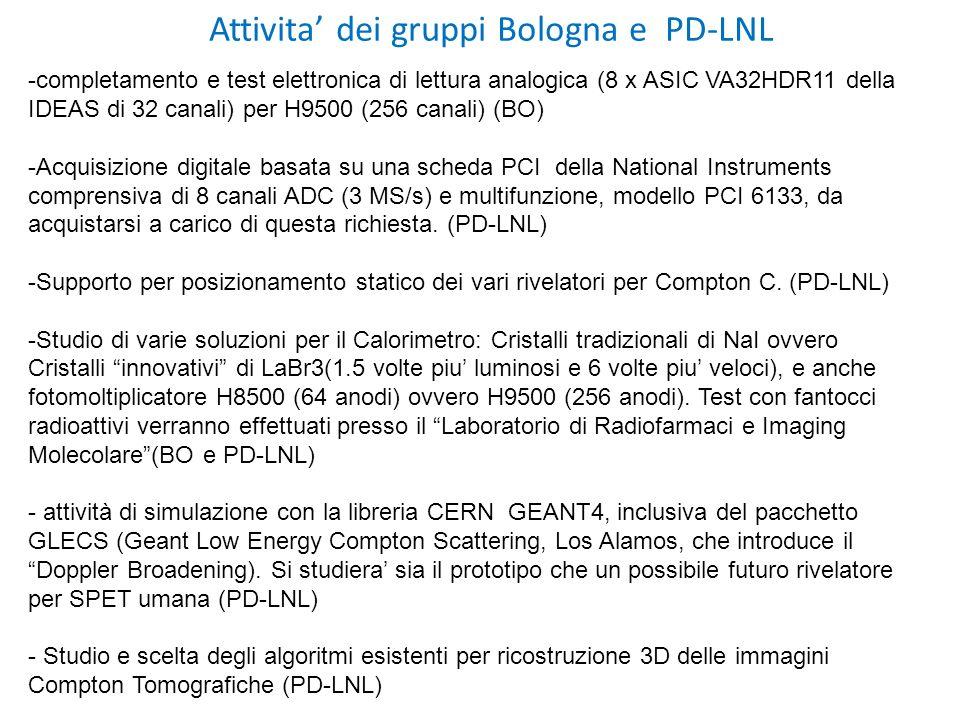 Attivita' dei gruppi Bologna e PD-LNL