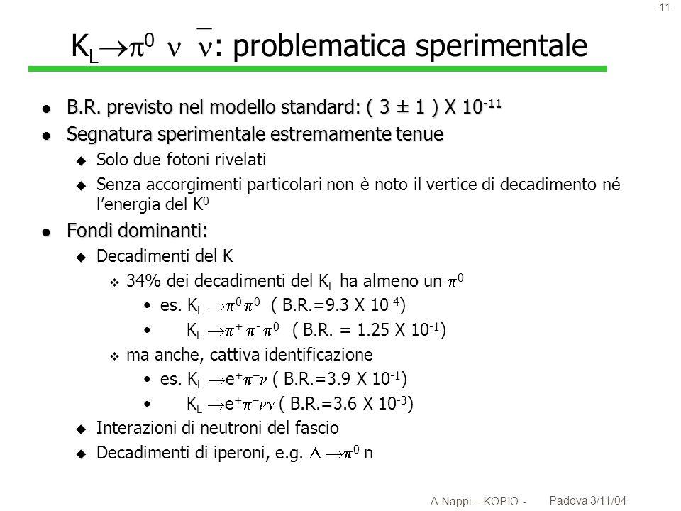 KL0 : problematica sperimentale