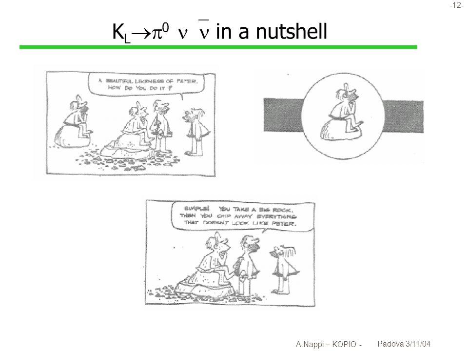 KL0  in a nutshell A.Nappi – KOPIO - Padova 3/11/04