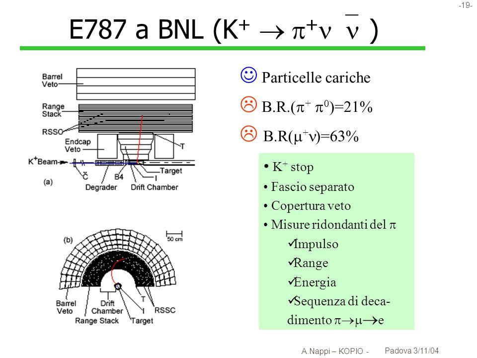 E787 a BNL (K+ + )  Particelle cariche  B.R.(+ 0)=21%