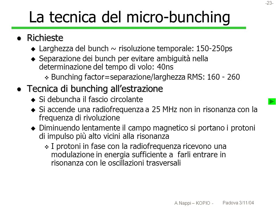 La tecnica del micro-bunching