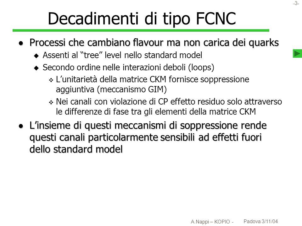 Decadimenti di tipo FCNC