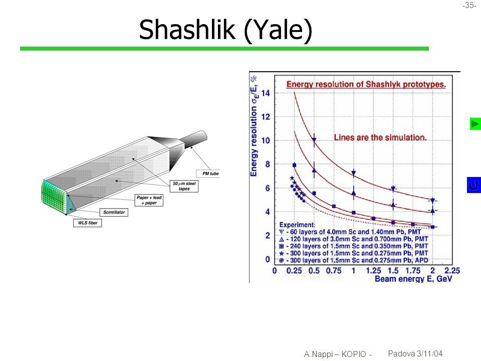 Shashlik (Yale) A.Nappi – KOPIO - Padova 3/11/04