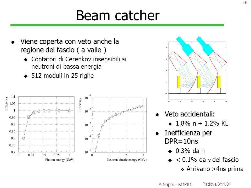 Beam catcherViene coperta con veto anche la regione del fascio ( a valle ) Contatori di Cerenkov insensibili ai neutroni di bassa energia.