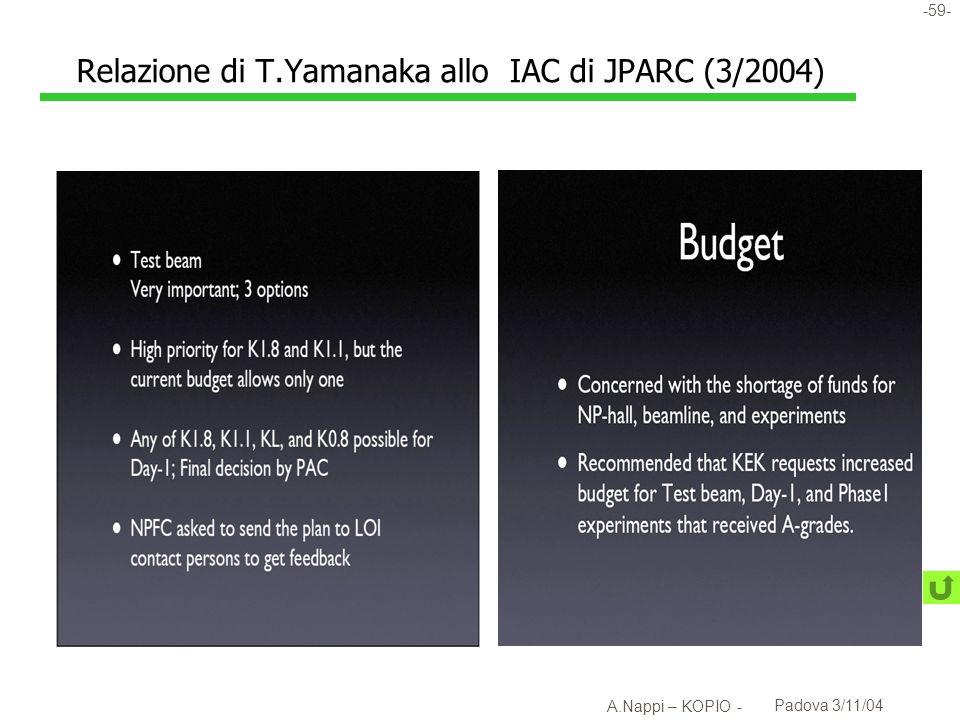 Relazione di T.Yamanaka allo IAC di JPARC (3/2004)