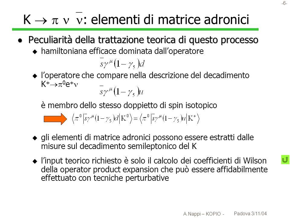K   : elementi di matrice adronici