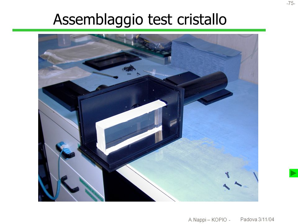 Assemblaggio test cristallo