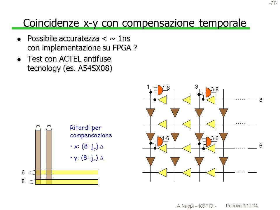 Coincidenze x-y con compensazione temporale