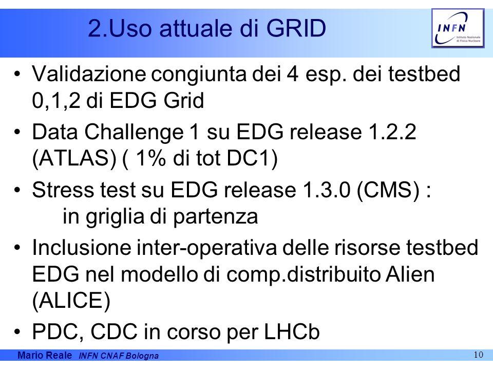 2.Uso attuale di GRID Validazione congiunta dei 4 esp. dei testbed 0,1,2 di EDG Grid. Data Challenge 1 su EDG release 1.2.2 (ATLAS) ( 1% di tot DC1)