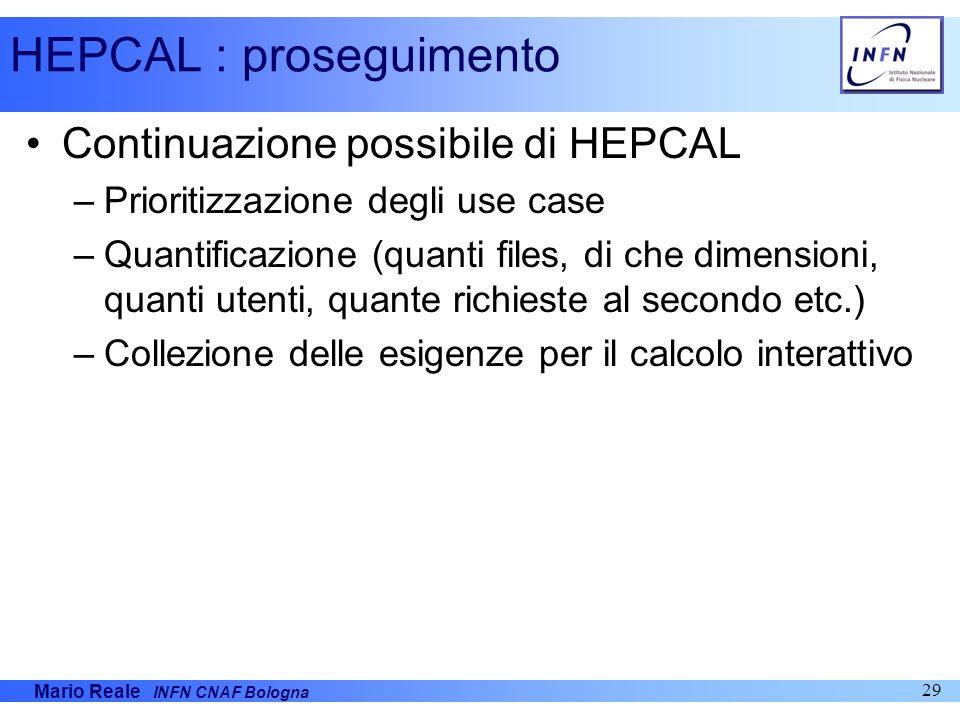 HEPCAL : proseguimento