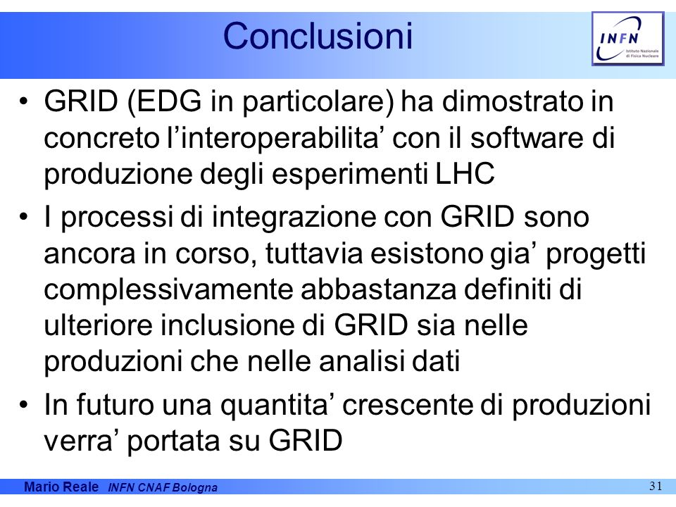 Conclusioni GRID (EDG in particolare) ha dimostrato in concreto l'interoperabilita' con il software di produzione degli esperimenti LHC.