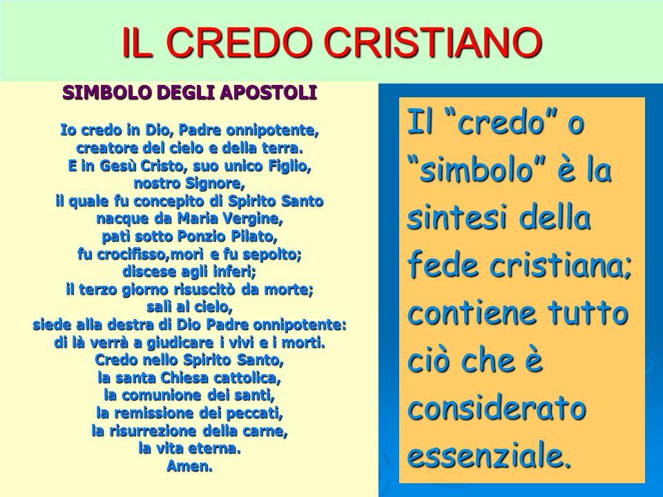 IL CREDO CRISTIANO Il credo o simbolo è la sintesi della