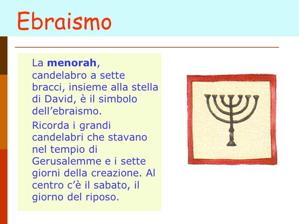 Ebraismo La menorah, candelabro a sette bracci, insieme alla stella di David, è il simbolo dell'ebraismo.