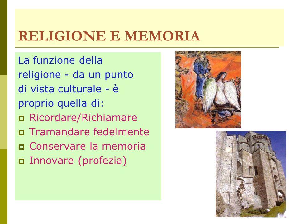 RELIGIONE E MEMORIA La funzione della religione - da un punto