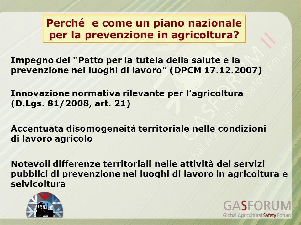 Perché e come un piano nazionale per la prevenzione in agricoltura