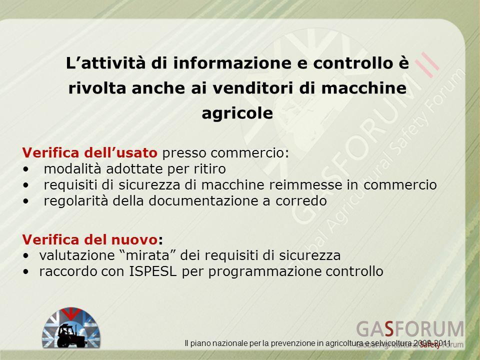 L'attività di informazione e controllo è rivolta anche ai venditori di macchine agricole