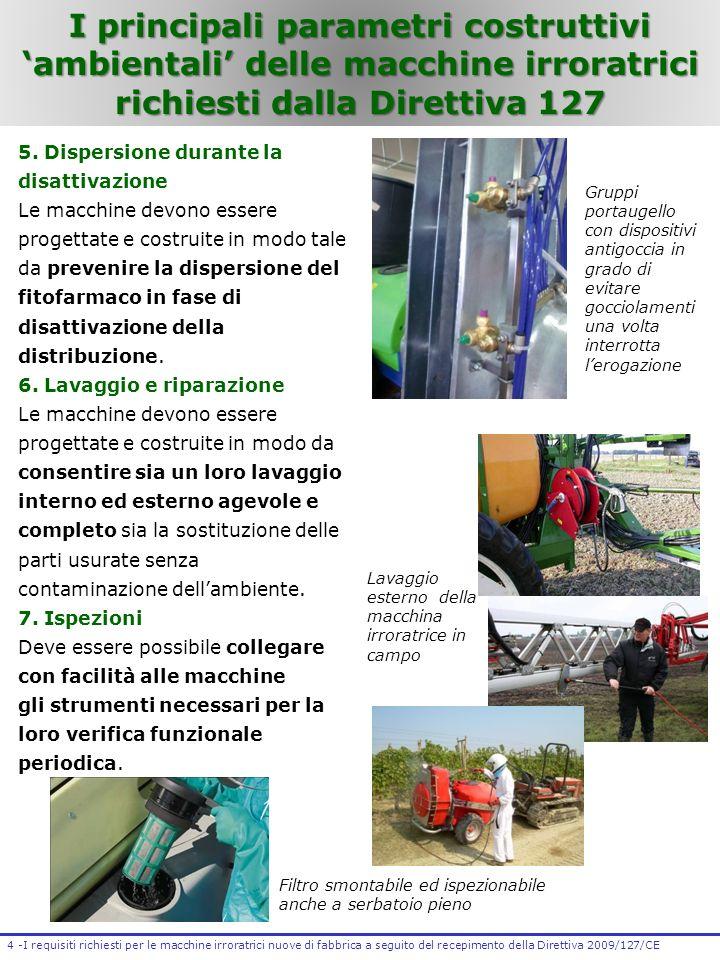 I principali parametri costruttivi 'ambientali' delle macchine irroratrici richiesti dalla Direttiva 127