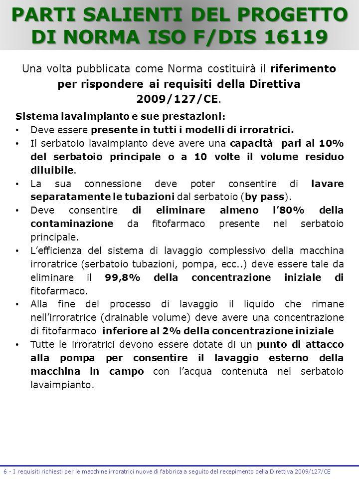 PARTI SALIENTI DEL PROGETTO DI NORMA ISO F/DIS 16119