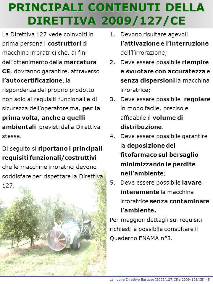 PRINCIPALI CONTENUTI DELLA DIRETTIVA 2009/127/CE