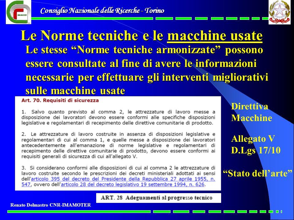 Le Norme tecniche e le macchine usate