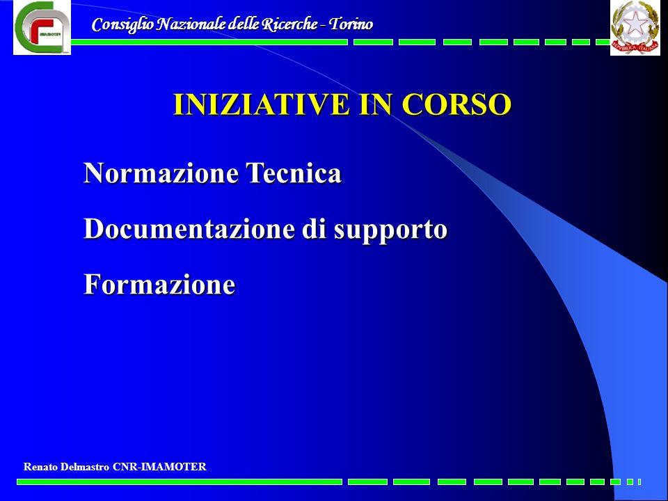 INIZIATIVE IN CORSO Normazione Tecnica Documentazione di supporto
