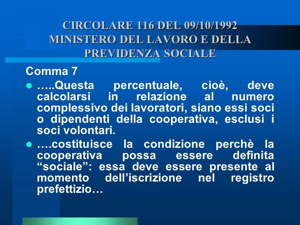 CIRCOLARE 116 DEL 09/10/1992 MINISTERO DEL LAVORO E DELLA PREVIDENZA SOCIALE