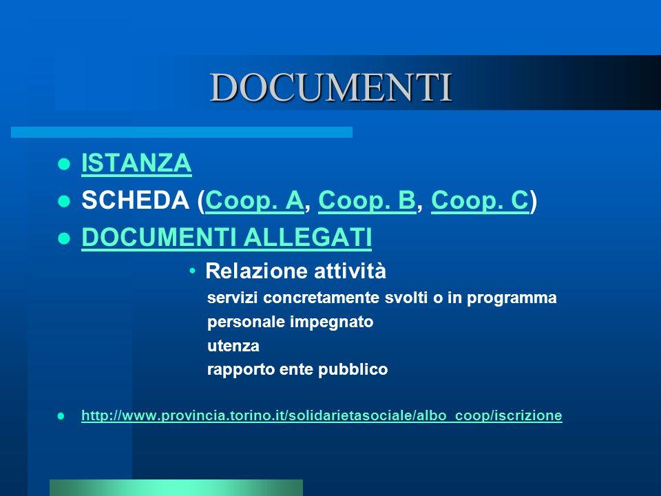 DOCUMENTI ISTANZA SCHEDA (Coop. A, Coop. B, Coop. C)
