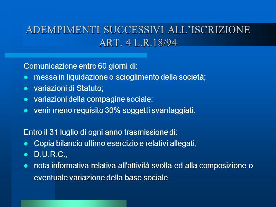 ADEMPIMENTI SUCCESSIVI ALL'ISCRIZIONE ART. 4 L.R.18/94