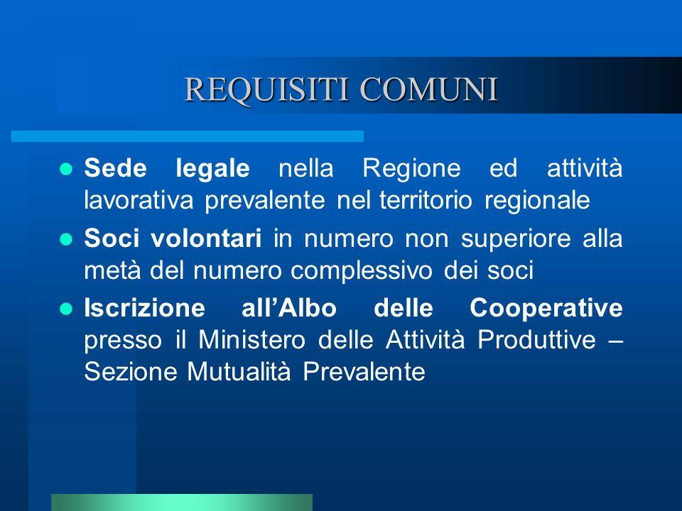 REQUISITI COMUNI Sede legale nella Regione ed attività lavorativa prevalente nel territorio regionale.
