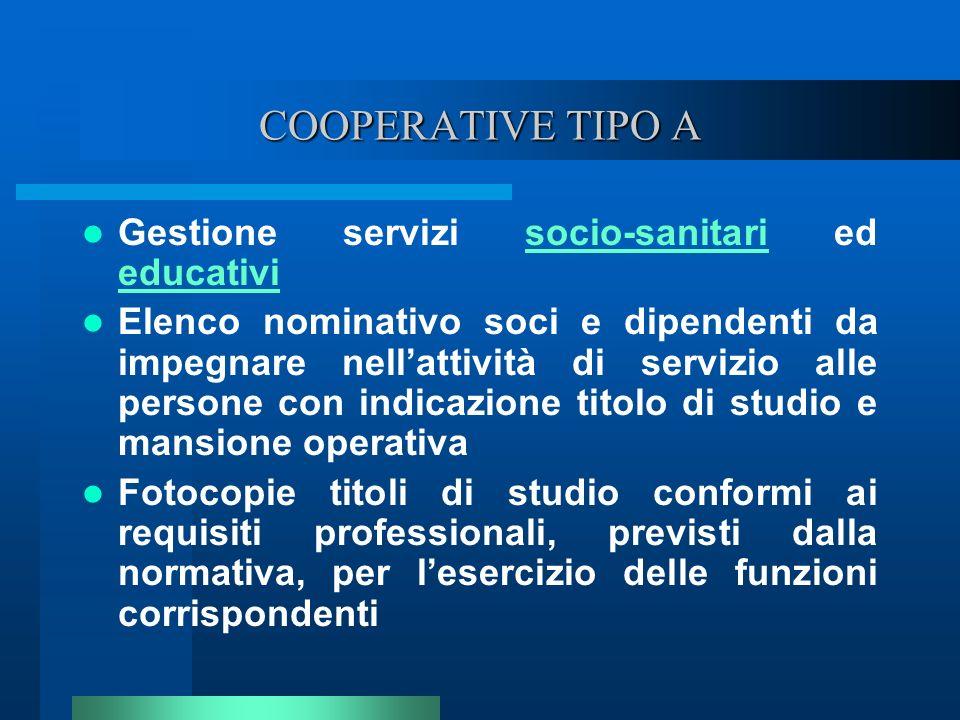 COOPERATIVE TIPO A Gestione servizi socio-sanitari ed educativi