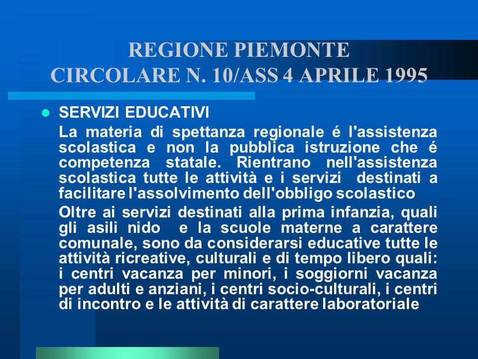 REGIONE PIEMONTE CIRCOLARE N. 10/ASS 4 APRILE 1995