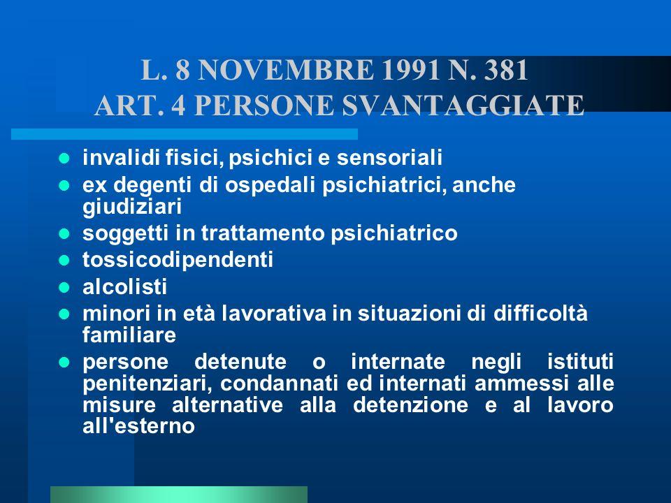 L. 8 NOVEMBRE 1991 N. 381 ART. 4 PERSONE SVANTAGGIATE